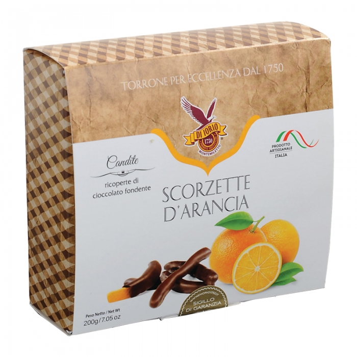 Scorzette d'arancio ricoperte al cioccolato