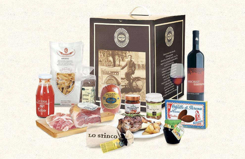 cesta con prodotti alimentari mare e monti maletti store online