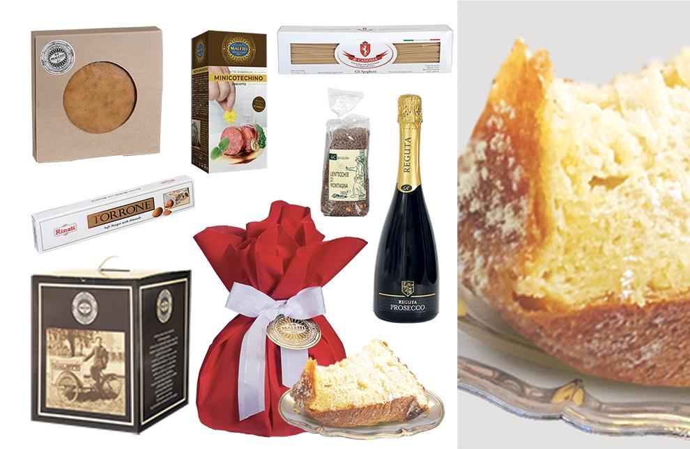Cesta alimentare natalizia con prodotti tipici