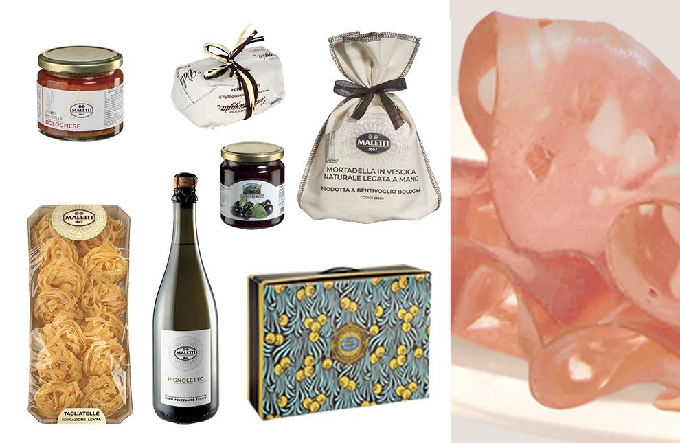 confezione enogastronomica con prodotti bolognesi per natale
