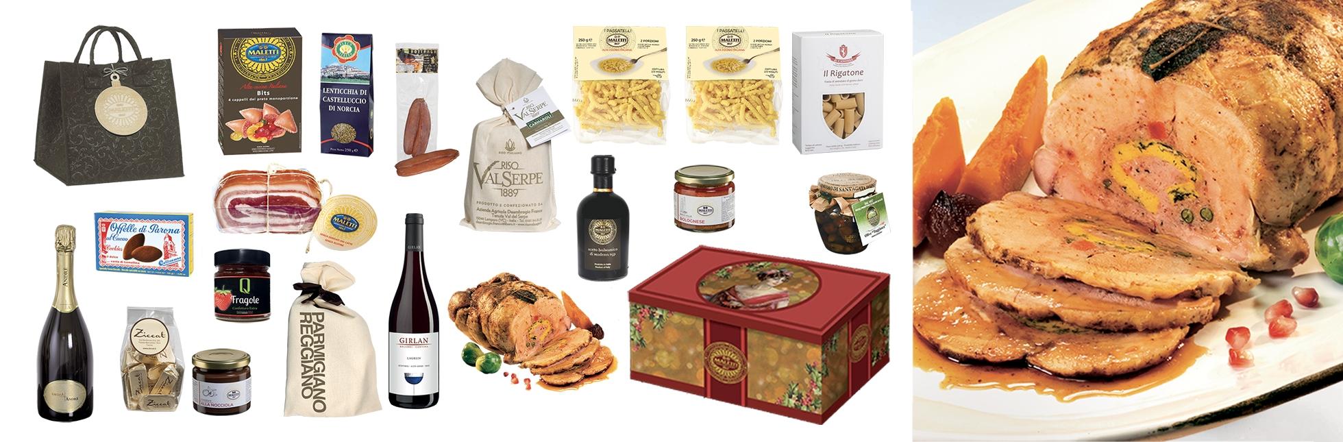 Cesta natalizia enogastronomica ricca di alimenti prelibati