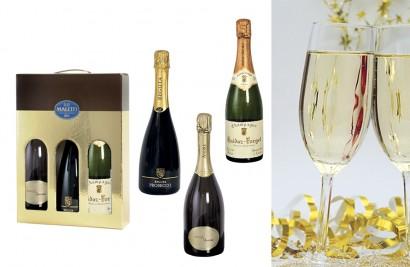 cesta natalizia con spumanti e champagne