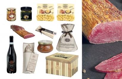 Cesta regalo alimentare con carni, salumi e norcineria